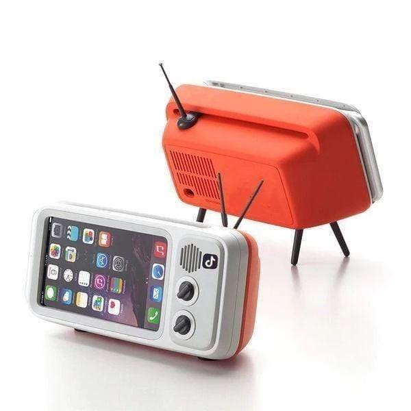 Peterhot Mini haut-parleur rétro TV support de téléphone Portable