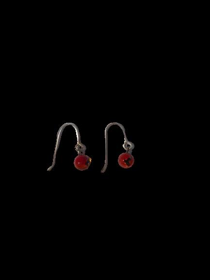 Boucles d'oreilles crochet rouge Collection Fusion par Marie Flambard